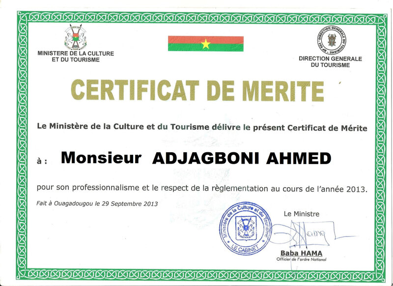 Attestation de Mérite de Mr Ahmed Adjagboni