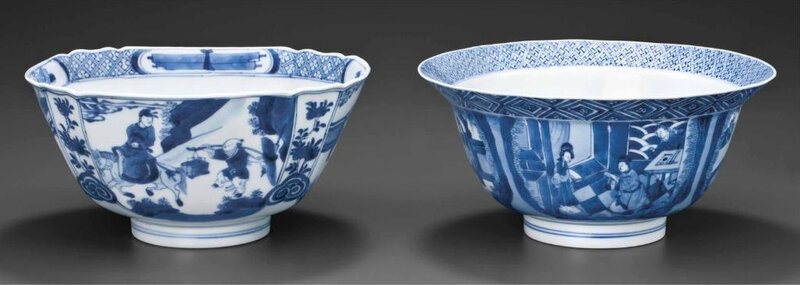 Two blue and white bowls, Kangxi six-character marks in underglaze blue within double circles and of the period (1662-1722)