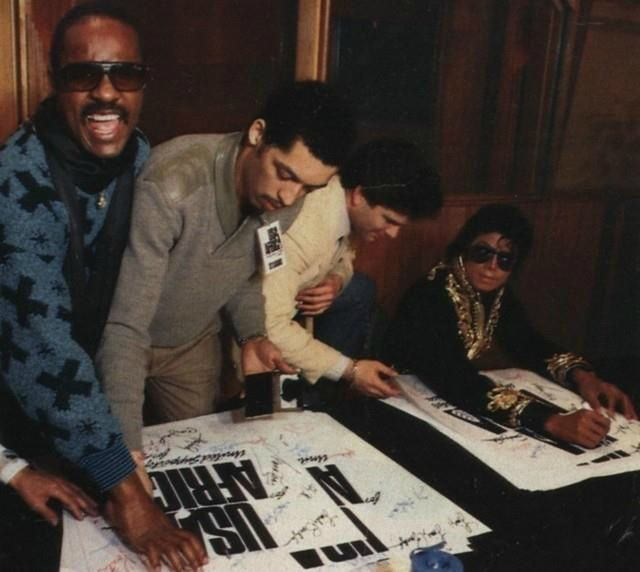signing usa for africa poster