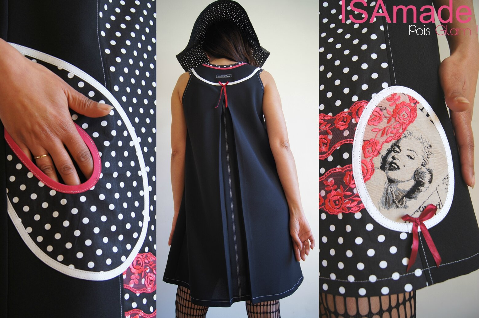 c05e0ff8599e2 Un Style Chic Fantaisie et élégant , pour cette robe à pois trapèze à jeux  de patch d imprimés et dentelle ! Une Esprit Mode Créateur tout en finesse  jouant ...