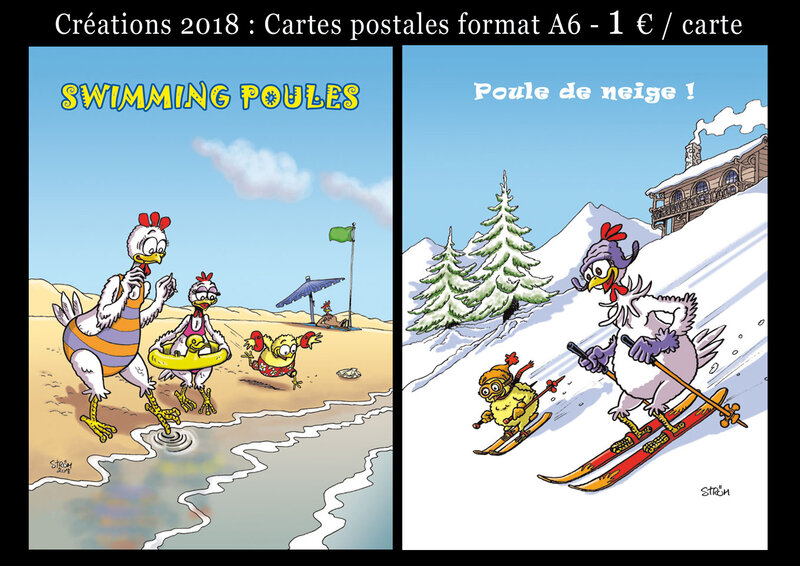 Cartes postales swimmingpoules-poule de neige