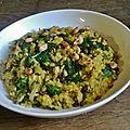 Riz au curry, epinard, noix de cajou, raisin sec pois chiches...