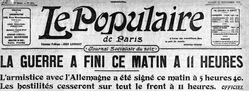 Le populaire 12 11 1918