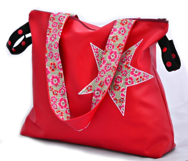 sac poussette canne et guidon rouge Liberty Elie ruth