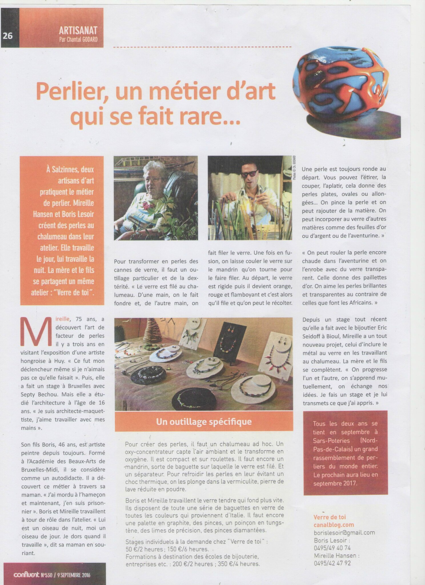 Article de presse du journal local : Le Confluent (septembre 2016)