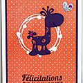 carte de naissance fille avec girafe violette