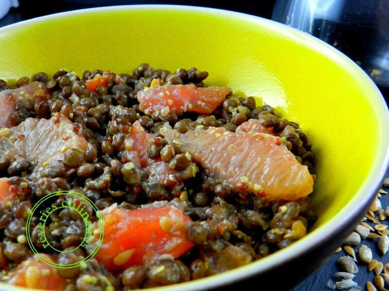 Salade de lentilles au saumon, graines de lin et de tournesol