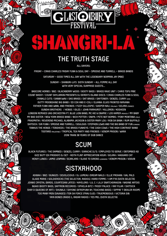 Glastonbury_festival_2019_Shangri La_Shangri-La_The Truth stage_Scum Stage_Sistxrhood stage_line-up_programmation_poster_affiche