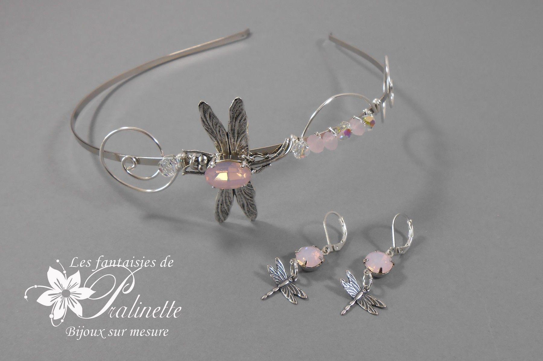 bijoux-mariage-vintage-serre-tête-et-boucles-d-oreilles-libellules-cabochons-cristal