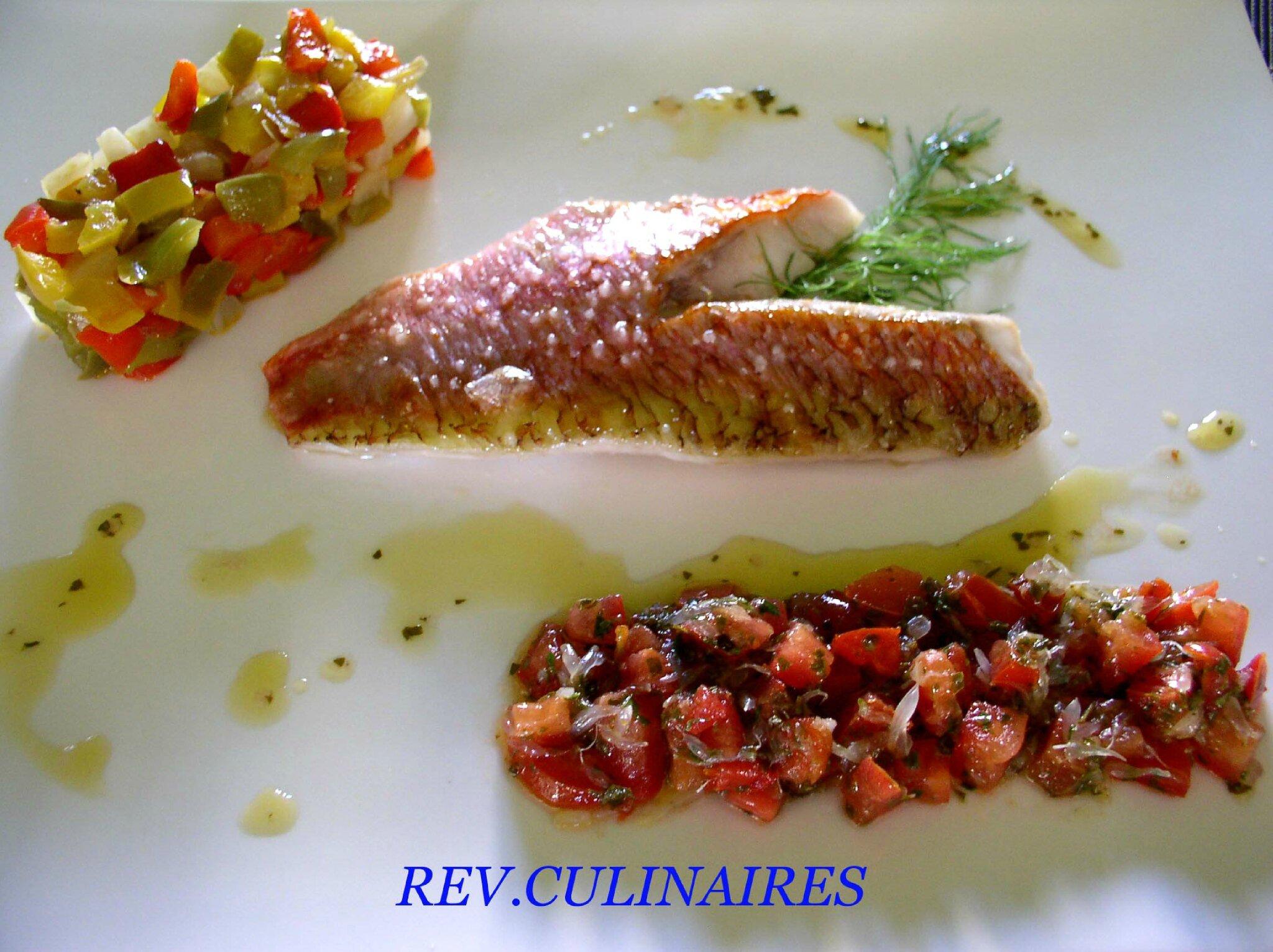 filet de rouget à l' huile d' Arbequina et légumes du soleil