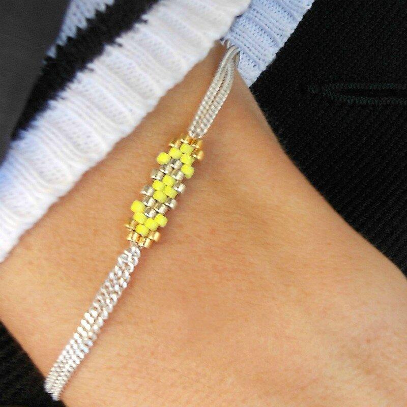 bracelet double chaine en argent 925 couleur jaune citron