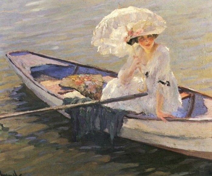 edward cucuel woman in a boat