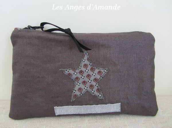 trousse lin gris étoile