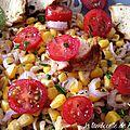 Salade toute simple, pâtes complètes et poulet