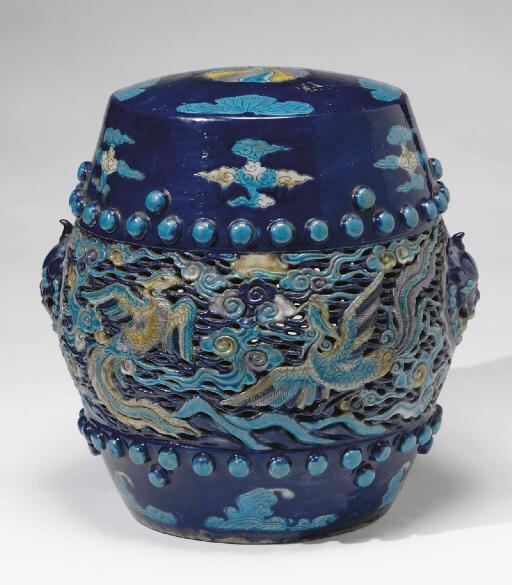 A fahua barrel-form garden seat, Ming dynasty (1368-1644)