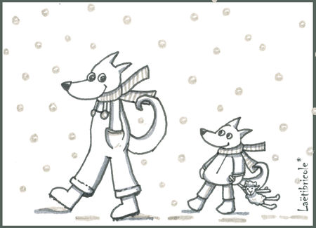 coloriage_loups_neige