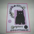 Carte anniversaire chaton