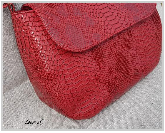 SAC SIMILI DRAGON ROUGE RABAT BANDOULIERE DETAIL COTE