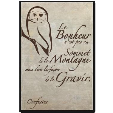 tableau-bois-citation-zen-spiritualite-celebrite-confucius-bonheur-montagne-gravir-creme