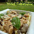 Pâtes aux champignons et poulet caramélisé