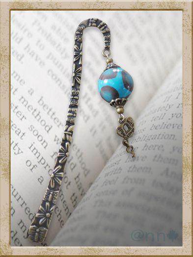 MP perle turquoise chocolat, coeur bronze (N)