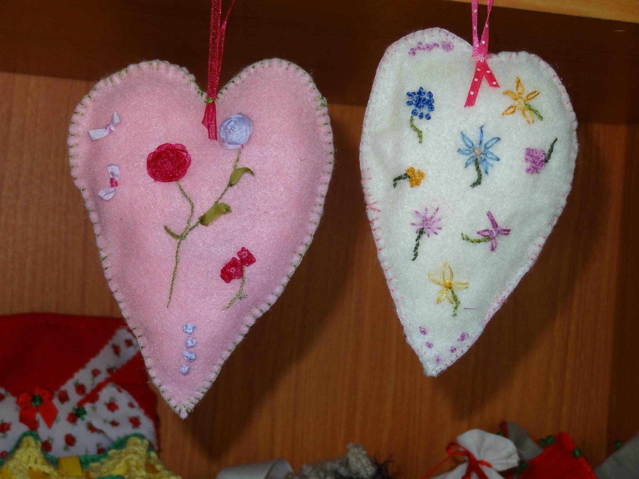 coeur parfumé rose et ivoire