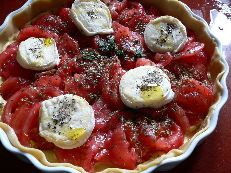 Tarte tomates-cabécous crue