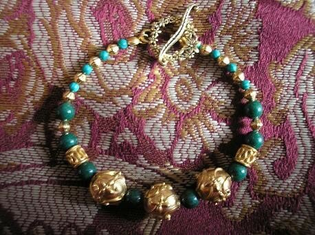 Bracelet gold vermeil, mountain jade et malachite