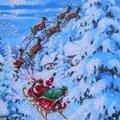 joyeux noel pere noel traineau neige