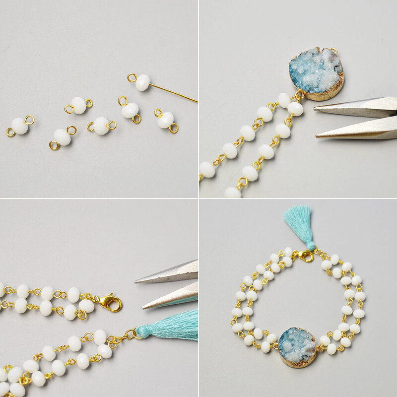PandaHall-Easy-Tutorial-on-White-Glass-Beads-Bracelet-with-Drusy-Agate-2