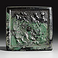 An unusual bronze square mirror, Tang dynasty, 8th-9th century