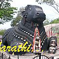 Nandi statue at Chamudeshwari Temple.