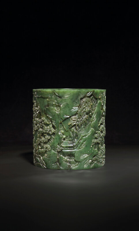 2019_CKS_17114_0131_001(a_finely_carved_spinach-green_jade_brush_pot_bitong_qianlong_period)