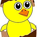 funny-chick-cartoon-newborn-coming-out-from-the-egg-with-a-chocolate-eggshell-hat-10498