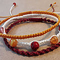 Lot de 3 bracelets en macramé orange/rouge
