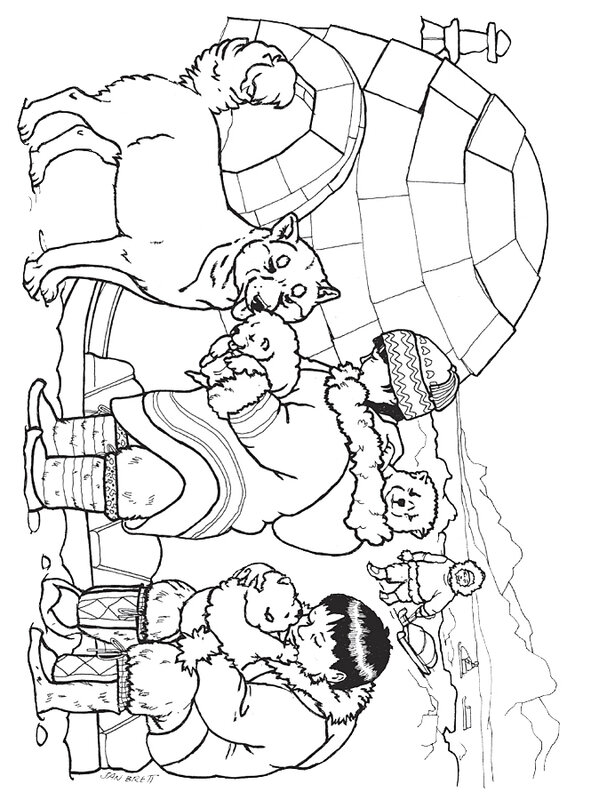 three_snow_bears_husky_pups_coloring_page