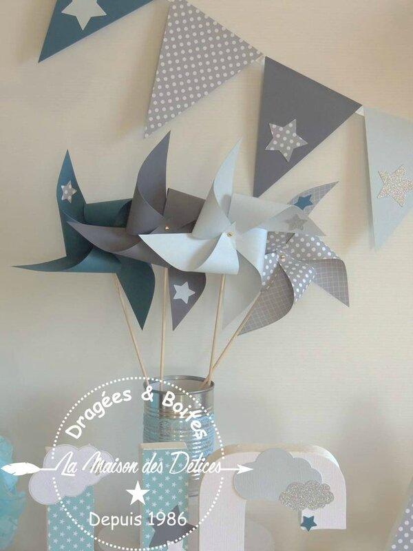 decoration bapteme baby shower moulin fanion bleu gris petrole