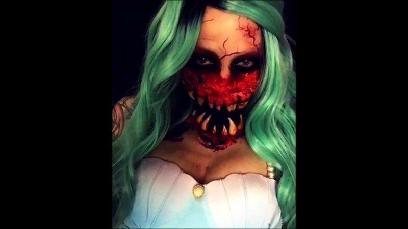 Maquillage-effrayant-machoire-gante-et-gueule-de-monstre