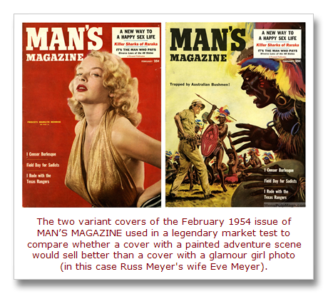 MAN'S MAGAZINE, February 1954 variant covers for market test[23]
