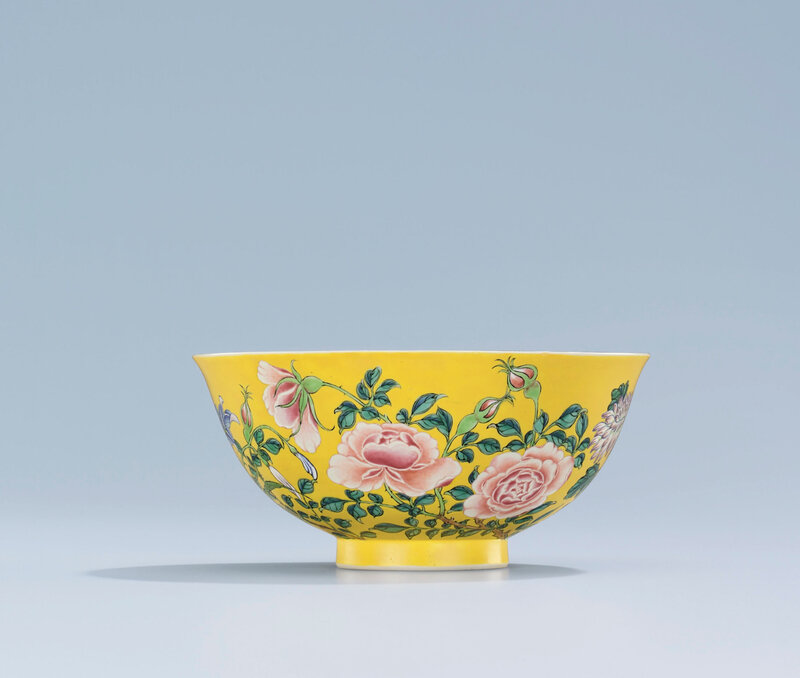 A very rare imperial yellow-ground falangcai 'floral' bowl, Kangxi pink-enamelled four-character yuzhi mark within double squares and of the period (1662-1722)