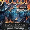 Night demon en concert avec accept : @ paris - 1er fevrier 2018 / saint etienne (30 /01)