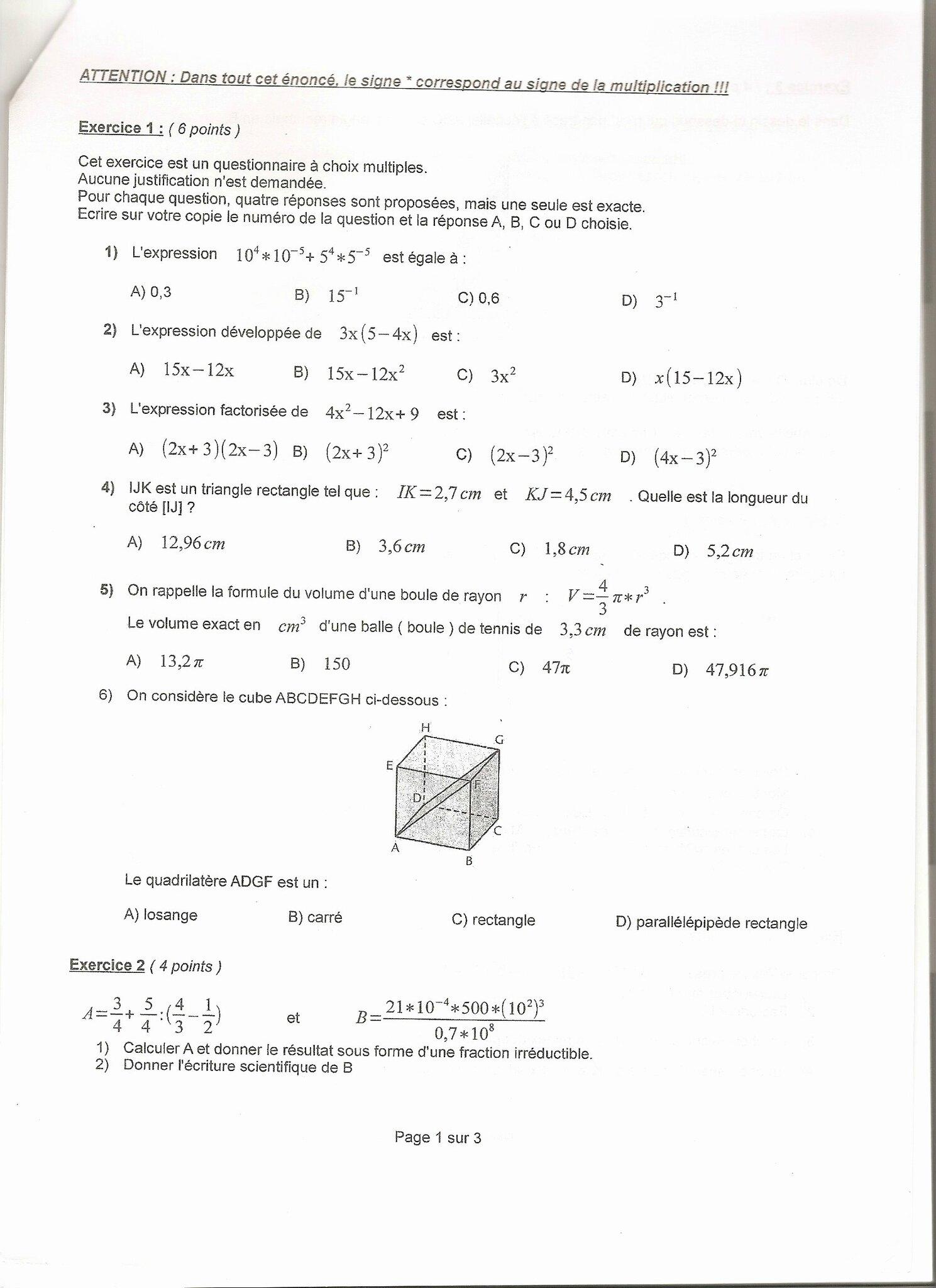 Brevet Blanc de Mathétiques niveau 3ème - Réviser le ...