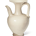A rare large cizhou white glazed ewer, northern song dynasty (960-1127)
