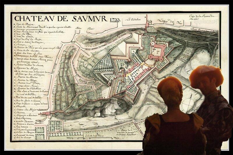 Le Castrum Salmurum - Castrum Trumcum, l'origine de Saumur. plan du Château de Saumur 1733 b