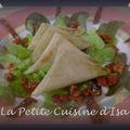 Samossas au fromage de chèvre, epinard et tomates séchées