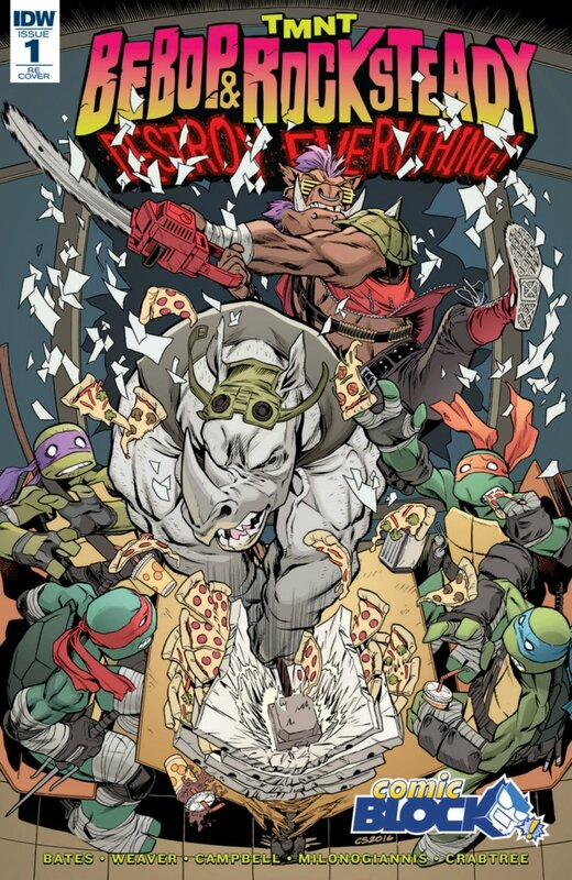 IDW TMNT bebop & rocksteady destroy everything 01 comic block variant