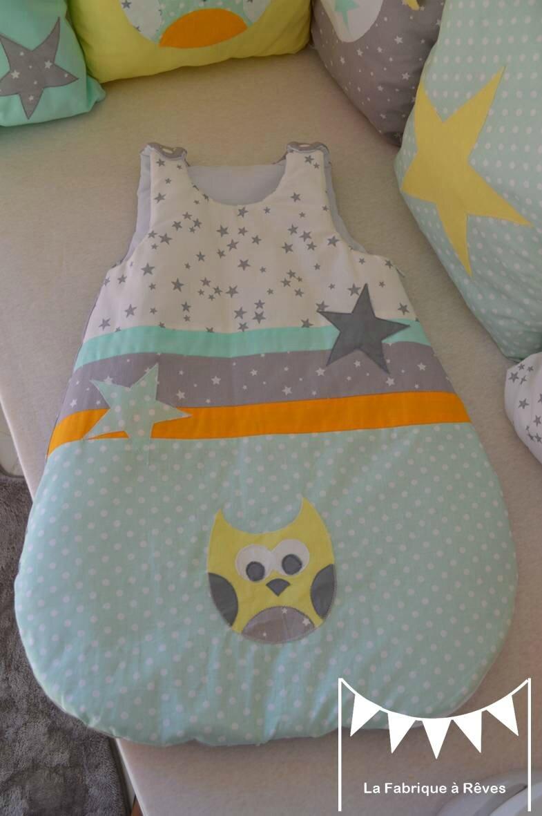 turbulette gigoteuse naissance 0-6 mois bébé garçon fille jaune vert d'eau blanc gris étoiles hibou chouette