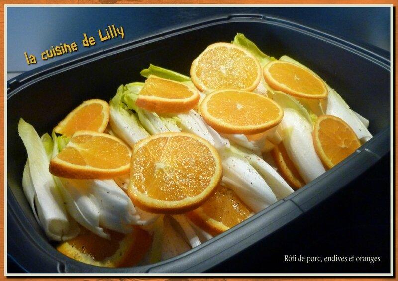 rôti de porc, endives et oranges