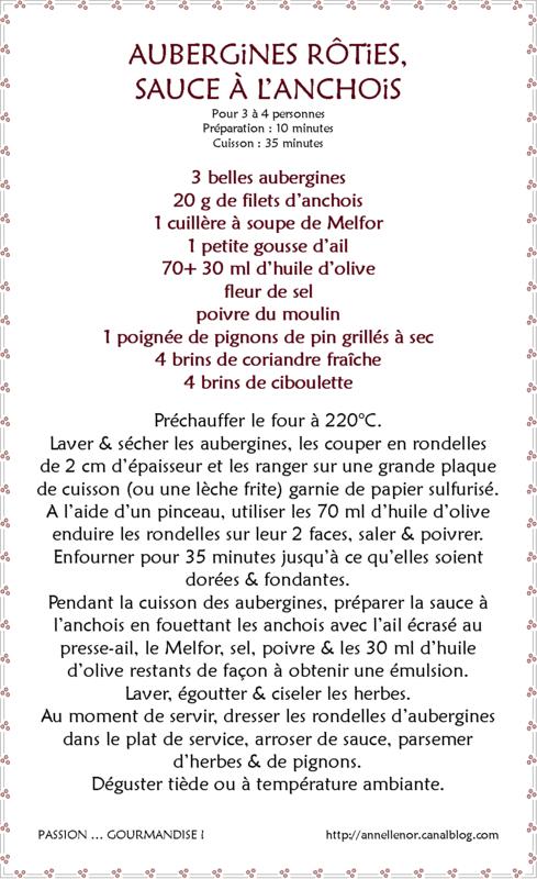 Aubergines rôties, sauce à l'anchois_fiche