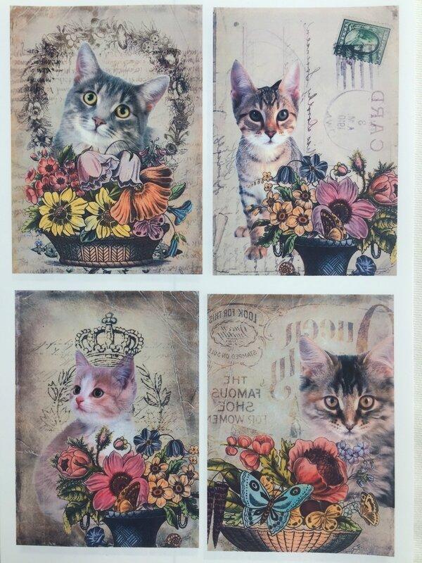 Pochette petits chats et fleurs 2